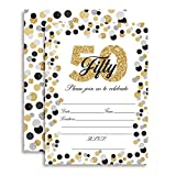 Confetti Polka Dot 50th Birthday Party Invitations, 20 5'x7' Fill In Cards with Twenty White Envelopes by AmandaCreation