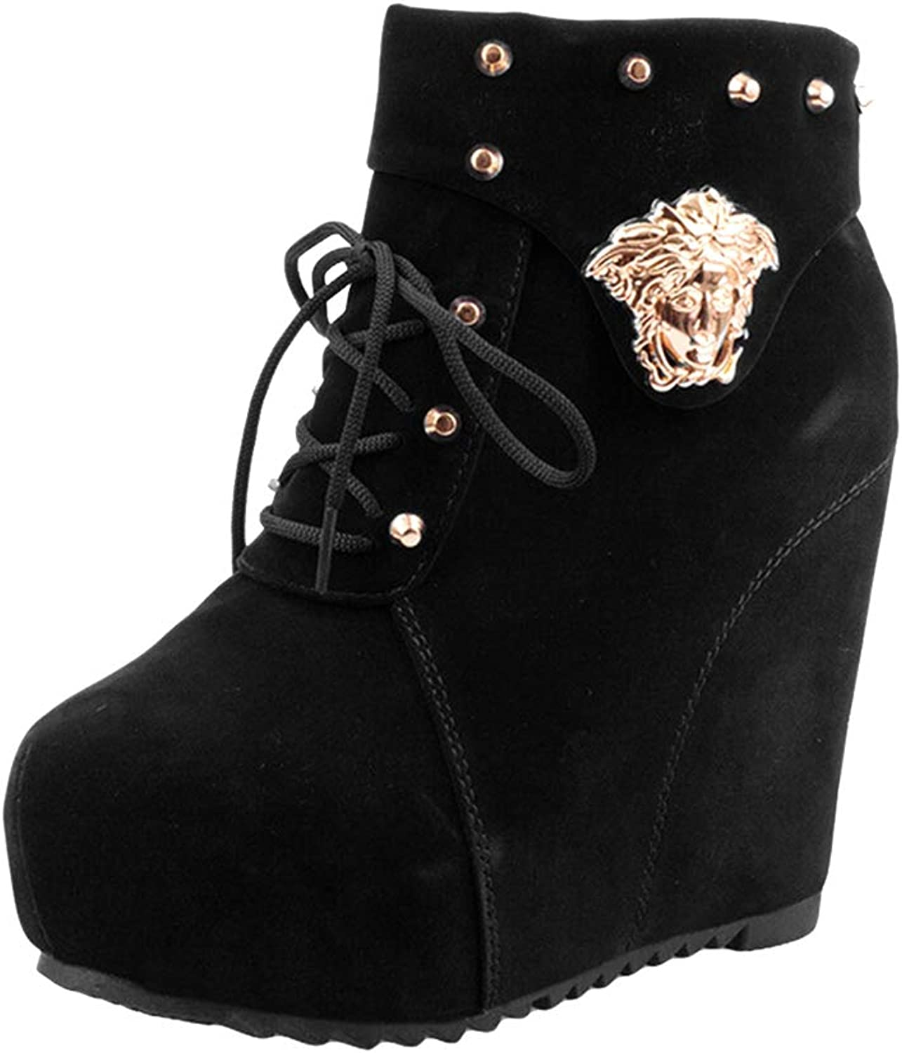ONCEFIRST Women's Rivets Platform Hidden Wedge Boot Ankle Bootie