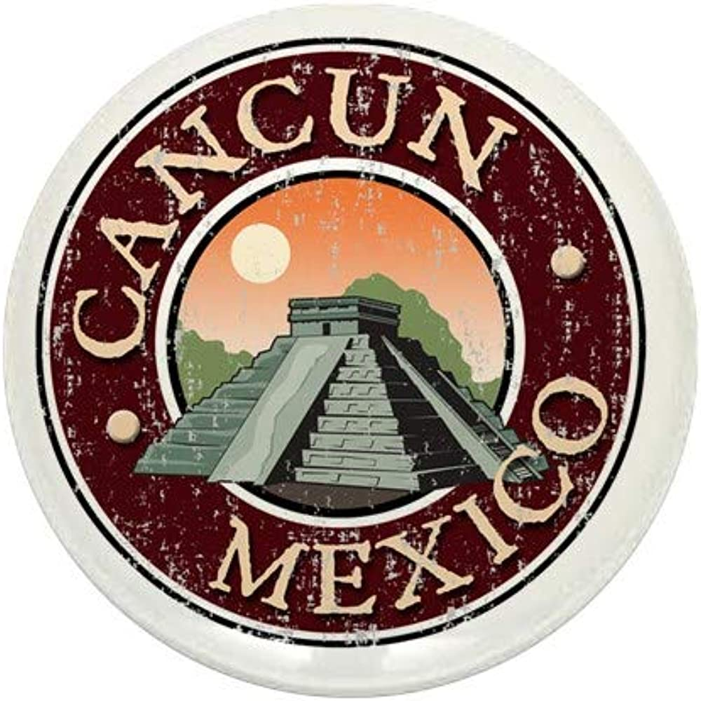 CafePress Cancun Spring new work Mexico Distressed Time sale Mini Button Round 1