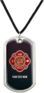 GRAPHICS & MORE Personalized Custom 1 Line Firefighter Maltese Cross Fire Rescue Military Dog Tag Pendant with Cord