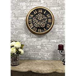 Ebros Large Steampunk Mechanical Moving Gears European Classic Round Style Gold And Black Wall Clock 18D Victorian Industrial Accent Fantasy Metal Clockwork Gearwork Clocks (Standard Roman Numerals)