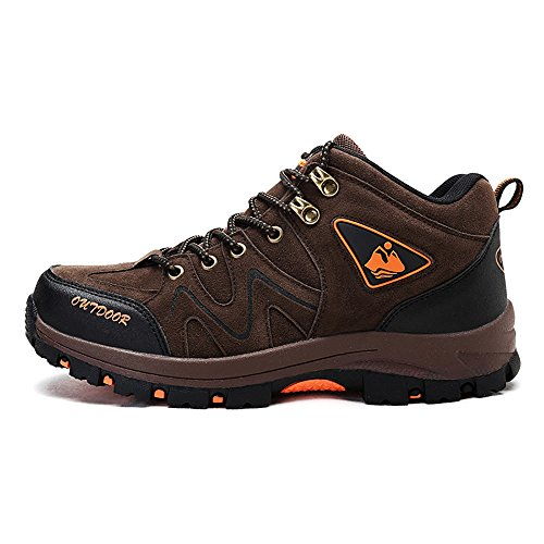 Men's Travel Shoes,Lightweight Anti Skid Cross-Country Shoes,Outdoor Mountaineering Shoes,Breathable and wear-Resistant Hiking Shoes (8.5, Brown)