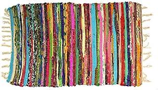 Homevibes Alfombra Multicolor Chindi con Pelo Largo, Estilo Hindu, Alfombra 100% Algodon, Tejida A Mano, Medidas 50x80 / 60x90 cm, Alfombra de Comedor, Alfombra Multicolor con Flecos (60x90cm)