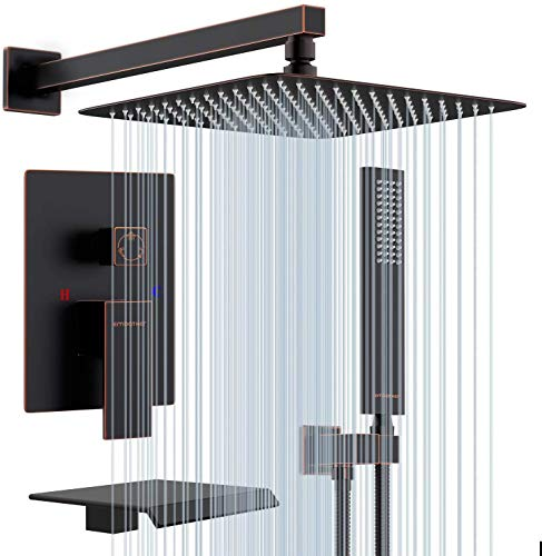EMBATHER Shower System with Waterfall Tub Spout-12 Inches Oil Rubbed Bronze Rain Shower Tub Faucet Set with Square Showerhead and Handhled-Eco-Friendly(Valve included)