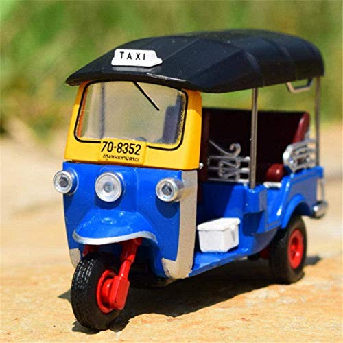 THKZH Modelo De Coche Estático Decoración Modelo En Miniatura Colección De Coches Escala 1:43 1980 Triciclo Taxi Coche Modelo Fundido A Presión Pantalla para Niños Adultos
