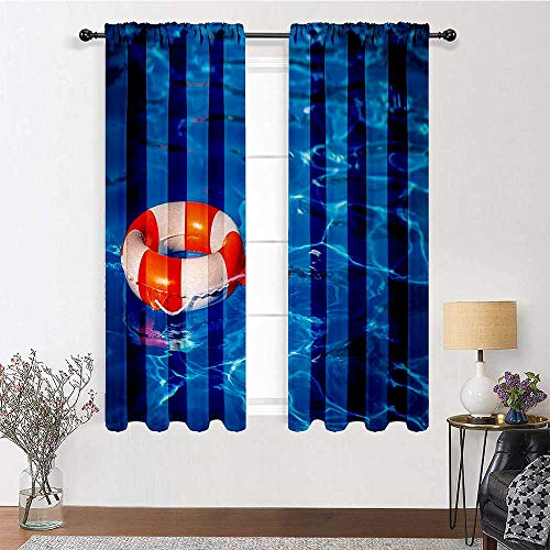 Adorise Bedroom Curtain Life Buoy in Crystal Clear Swimming Pool Summer Relaxing Vacation Sports Theme Energy Saving Drapes for Kitchen/Bedroom (2 Pieces, 52 inches Wide Each Panel)