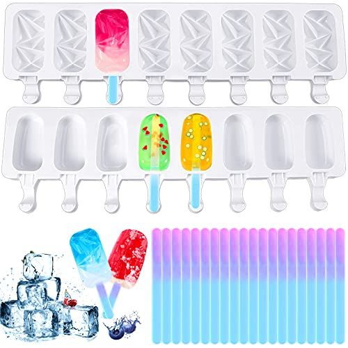 2 Pieces 8 Cavity Classic Oval Shaped and Diamond Oval Popsicle Silicone Mold Ice Cream Maker Reusable Chocolate Ice Cream Mold with 20 Pieces Colorful Acrylic Pop Sticks for DIY Ice Lolly Cake Pop