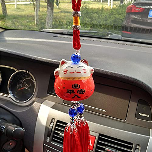 BDYALINGVN Cerámico Cerámico Cerámica Lindo Lucky Cat Safe Driving Ornamentos Colgando Automotriz Vista Posterior Espejo Decoración de la suspensión Recorte Regalo (Color : Red)