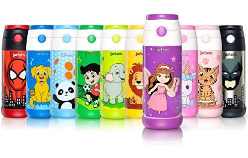 Jarlson Trinkflasche Kinder - Thermo Edelstahl Wasserflasche 350ml - BPA frei - auslaufsicher - Kinderflasche mit Strohhalm - Flasche für Schule, Kindergarten, Fahrrad (Fee, 350 ml)