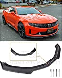 Extreme Online Store Replacement For 2019-Present Chevrolet Camaro LT LS RS SS Models | Refreshed ZL1 Style ABS Plastic PRIMER BLACK Front Bumper Lower Lip Splitter Fascia Extension