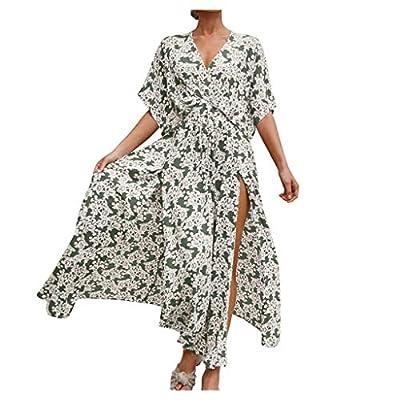 Women Fashion Bohe Dot Print Camisole Dress O-Neck Button Ruffled Sundress Green from Oyedens