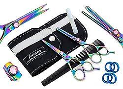 """Awans Professional Hair Cutting & Effilierschere Set mit hochwertigem Edelstahl Sharp Razor Edge Feineinstellung Tension Screw Titan Friseur Salon Schere, Set Effilierschere 5,5 """""""