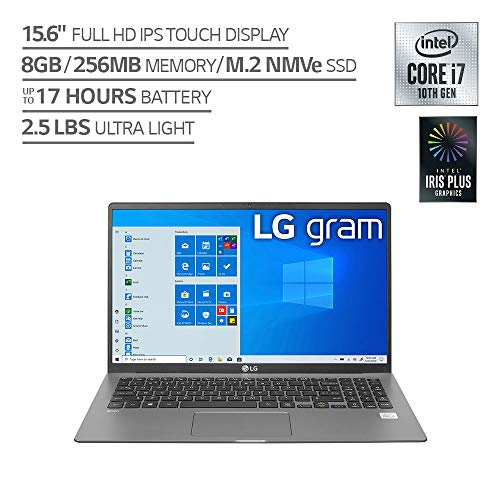 LG gram Laptop 15.6Inch IPS Touchscreen, Intel 10th Gen Core i71065G7 CPU, 8GB RAM, 256GB M.2 NVMe SSD, 17 Hours Battery, Thunderbolt 3 15Z90NR.AAS7U1 2020