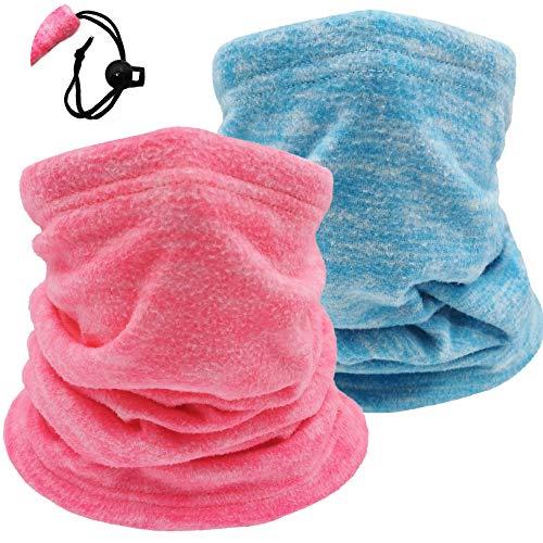2 Pack Winter Neck Warmer Gaiter Ski Fleece Warm Windproof Face Scarf Cover Mask for Snowboard (2pcs Blue+Pink)