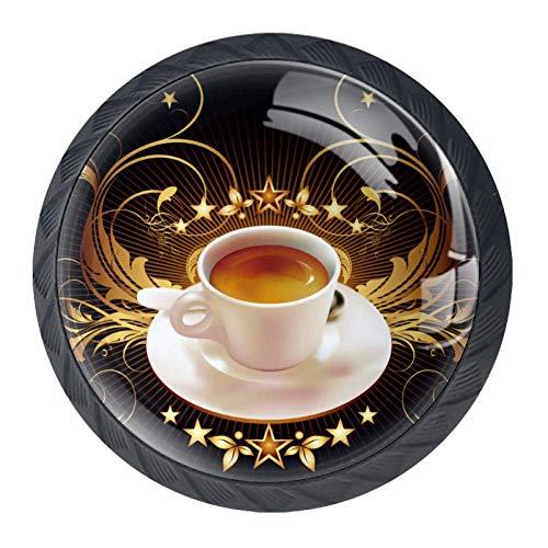 DEYYA Coffee Cup Crystal Glass Drawer Knob Pull Handle 30mm Ergonomic Circle Cabinet Handle with Screws 4 PCS