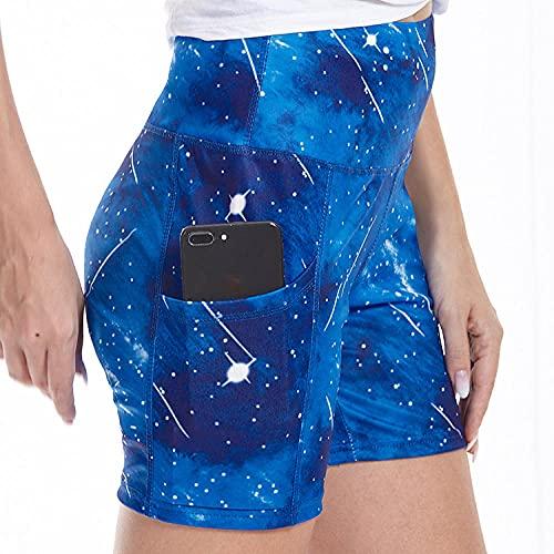 ArcherWlh Yoga Pantalones,2021 Comercio Extranjero Señoras Discotecas Imprimir Hip Fitness Casual Shorts Pantalones de Yoga-Azul_L