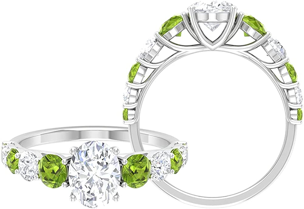2.75 CT Classic Ring with Oval Cut Moissanite Solitaire and Peridot Side Stone (AAA Quality),14K White Gold,Moissanite,Size:US 9.00