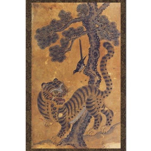 Tiger Magpie Pine Tree Scroll Hanging Wall Art Interior Decor Handmade Asian Print Korean Folk Painting