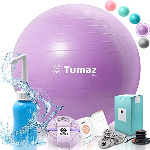 Tumaz Birth Ball Including Birthing Ball/Peri Bottle/Yoga Strap/Non-Slip Socks - Premium Birth Ball Set with Quick Foot Pump & Instruction Poster, The Perfect All-in-One Gift for Mom