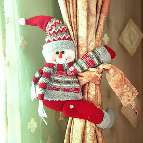 WWLDPTTCD Decoraciones navideñas para el hogar Cortina Hebilla Muñeco de nieve grande Muñeca Ventana Escaparate Adornos Decoración interior