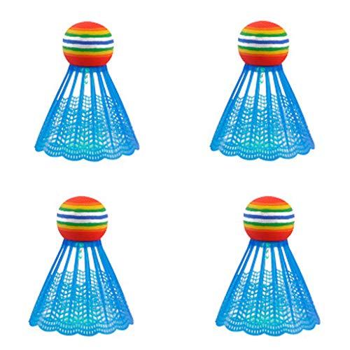 TIREOW 4 Stück Kunststoff Nylon Sieben Farben Wechsel/Bunte LED Leuchtende Badmintonbälle Federbälle Badmintonzubehör für Outdoor Sport Familienspiele (C)