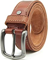 Genuine Leather Dress Belts with Prong Buckle Classic Casual for Men Jeans Work Business