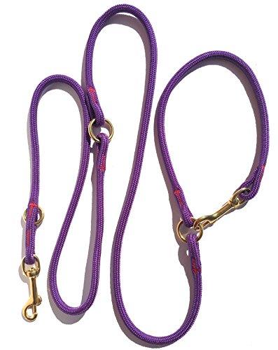 Dogs and More - Hochwertige Verstellbare MeRuBu Seilleine/Führleine mit Messingkarabinern in Sieben Farben (2,1 m Lang; 8 mm)
