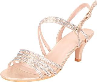 Cambridge Select Women`s Open Toe Strappy Crystal Rhinestone Mid Kitten Heel Sandal