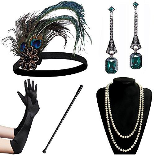 Coucoland 1920s Accessoires Set Damen Gatsby Kostüm Zubehör Set inklusive Stirnband Halskette Handschuhe Ohrringe Zigarettenhalter (Set-3)