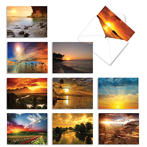 The Best Card Company, Sun Settings - 10 Assorted Note Cards Blank (4 x 5.12 Inch) - Assorted Scenic Landscapes, Sunset Cards Boxed M1740BN