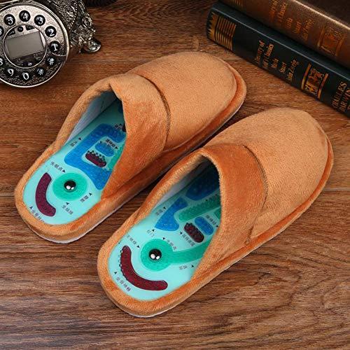 NANFENG Invierno Acupuntura del Masaje del Pie Zapatillas Salud Reflexología Zapatos Sandalias Magnéticos Acupuntura Pies Sanos Cuidado Massager Zapatos Imán,Marrón