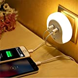 LED Night Light with Dusk to Dawn Sensor and Dual USB Wall Plate Charger (Dual USB)