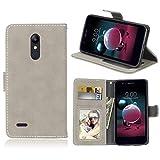 Ycloud Portafoglio Custodia per LG K11 Smartphone, Opaca Texture PU Pelle Magnetica Flip Caso Cover con Fessura Carte e Funzione Staffa (Grigio)