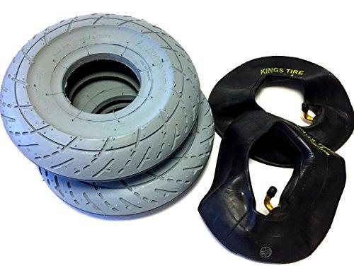 Fauteuil roulant Lot de 2 pneus 3.00-4 (260 x 85) racingprofil, couleur gris + Lot de 2 tuyaux d'angle Valve, pneu Racing Profil (Scooter), solide Montage Pneu de fauteuil roulant Pneu pour scooter,
