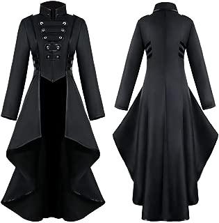 Women's Steampunk Vintage Tailcoat Jacket Gothic Victorian Frock Coat Uniform Halloween Costume