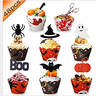 Halloween Witch Hat Cupcake Toppers Cupcake Liners Bat Spider Ghost Knife Pumpkin 48 Pack Cupcake Holder muffin Case Trays for Halloween, Birthday, Decoration Party Supply