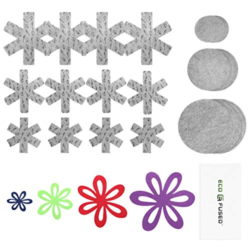 ECO-FUSED Pot and Pan Protectors - 61 pieces - 4x Flower-Shaped, 9x Snow-Shaped Pot and Pan Protectors, 48x Round Plate Dividers - Prevent Scratches and Damages to Cookware, Plates, Bowls and More