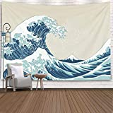 Pamime Aesthetic Room Décor,Ocean Tapestry,Ocean Wave Tapestry, Great Wave Mount Fuji Century Hanging Wall Tapestries for Living Room Decor 60X50 Inches(150X130Cm) Inhouse,Blue White