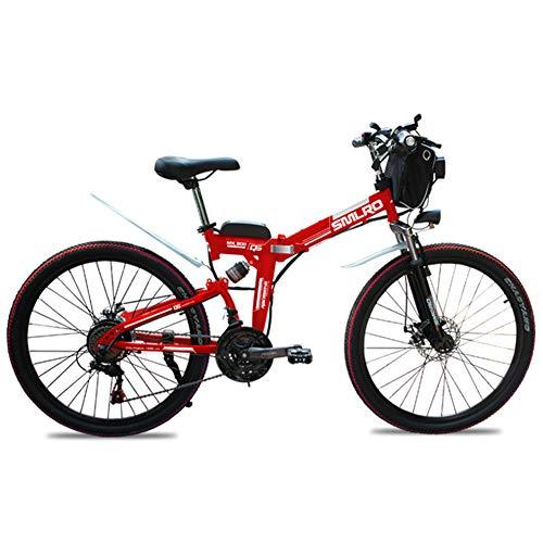 WFIZNB Elektro-Mountainbikes, 26-Zoll-Klapp E-Bikes mit superleichten Magnesium al 48V8Ah elektrischer Mountainbike mit Lithium-Ionen-Batterie Off-Road-Bikes mit superleichten,Rot
