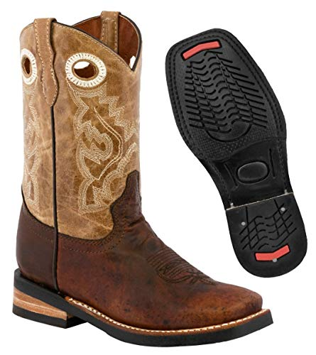 Kids Rustic Brown Western Cowboy Boots Leather Rodeo Square Toe Bota 11 Toddler
