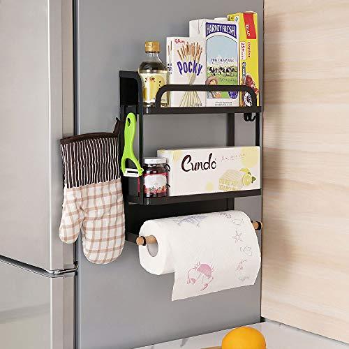 KINLO magnetisches Hängeregal für Kühlschrank Kühlschrank Regal, maximale Belastung - 10 kg, Küchenregal 30 x 10,5 x 35 cm, Magnet Gewürzregal mit Rollenhalter 4 Hacken, Mattschwarz