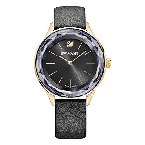 Swarovski Octea Nova Uhr, Damenuhr mit Rosé Vergoldetem Gehäuse, Schwarzem Zifferblatt, Swarovski Kristallen und Schwarzem Lederarmband