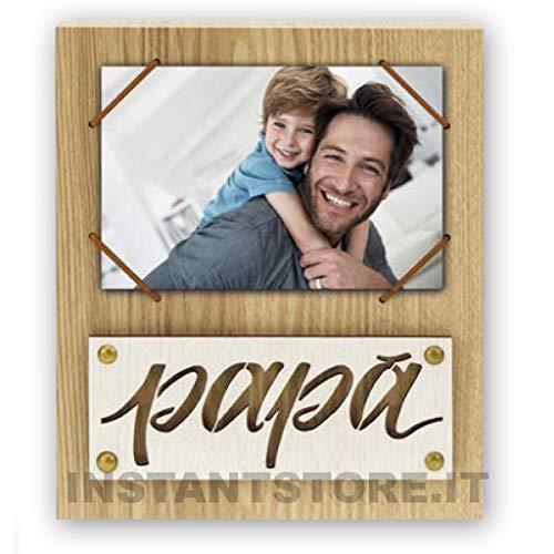 Zep - Marco de fotos de madera con texto papá para fotos de 10 x 15 cm con elástico ideal para el día del padre