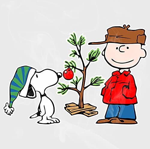 Enigma Design Company Snoopy & Charlie Brown Christmas Tree Clear Static Cling Semitransparent Decal 7'