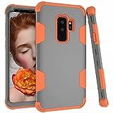 Carcasa protectora híbrida resistente de tres capas para Samsung Galaxy S9 Plus (color: gris naranja)