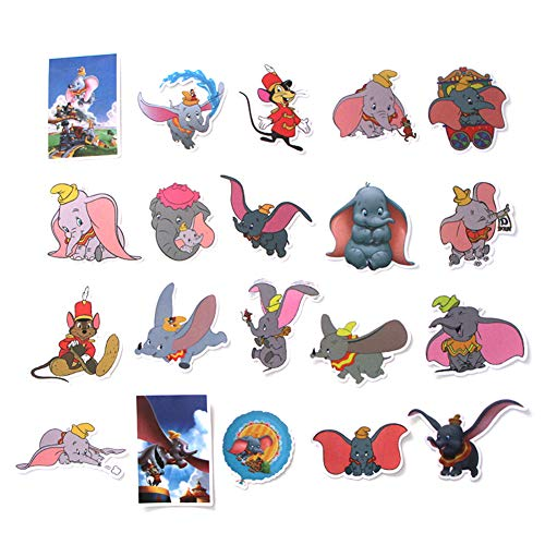 Cartoon Movie Dumbo Themed 20 Piece Sticker Decal Set for Kids Adults - Laptop Motorcycle Skateboard Decals