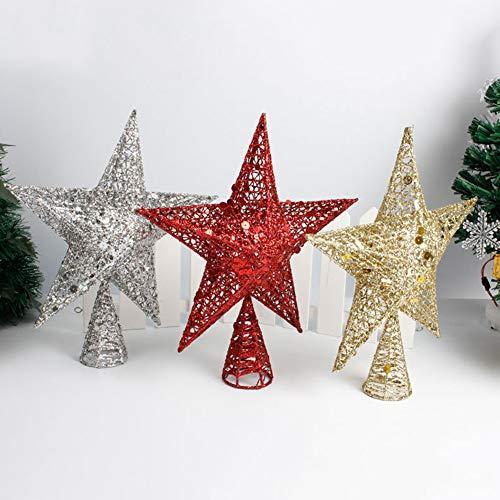 Catkoo Ornamenti Natalizi per Albero di Natale, Decorazione per Albero di Natale Topper Stella Glitter Albero di Natale Decorazioni per Interni in Ferro Argento