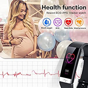 Fitness Tracker , Heart Rate Monitor IP68 Waterproof Activity Tracker HRV Health Watch SPO2 Blood Oxygen Blood Pressure with Sleep Monitor and 11 Sport Modes for Women and Men (Black)