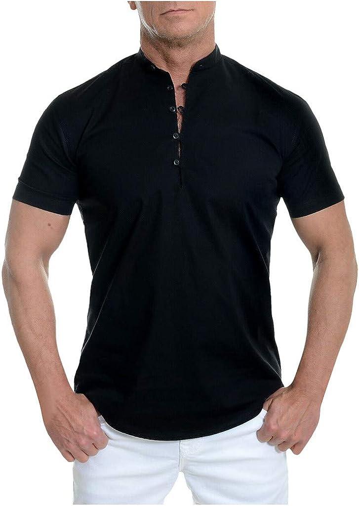 Allywit-Mens Short Sleeve Shirt Standing Collar Loops Cotton White V Neck Black Blouse