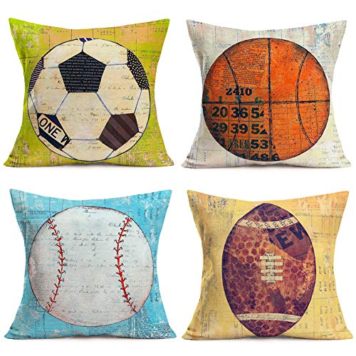 Fukeen Set of 4 Popular Sports Throw Pillow Cases Retro Football Basketball Softball Rugby with Letters Decorative Pillow Covers Cotton Linen Home Decor 18'x18' Pillowcase Sport Club Team Men Gifts